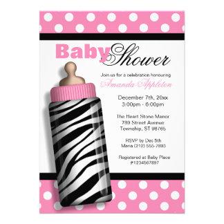 Zebra Print Baby Bottle Pink Baby Shower Invite