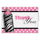 Zebra Print Baby Bottle Pink Thank You Cards