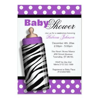 Zebra Print Baby Bottle Purple Baby Shower Card