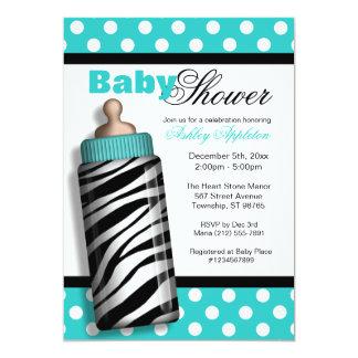 Zebra Print Baby Bottle Turquoise Baby Shower Card