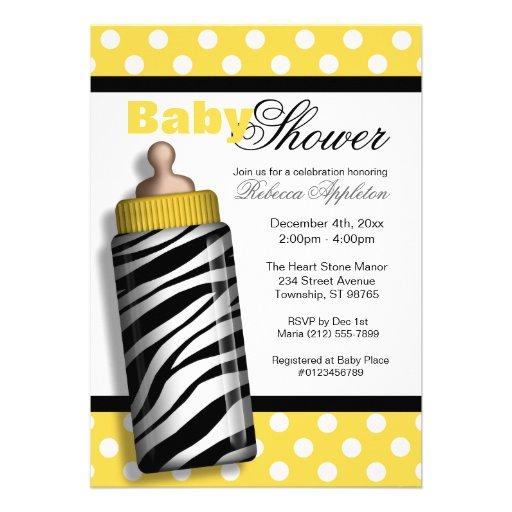 Zebra Print Baby Bottle Yellow Baby Shower Invites