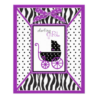 Zebra Print & Baby Carriage Advice Card 11.5 Cm X 14 Cm Flyer