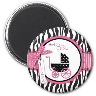 Zebra Print & Baby Carriage Baby Shower 6 Cm Round Magnet