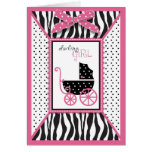 Zebra Print & Baby Carriage Baby Shower Cards