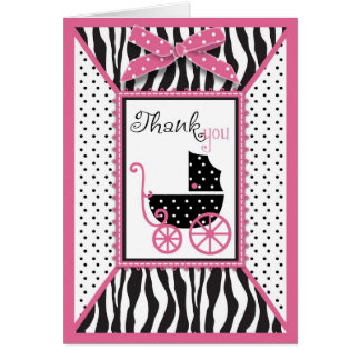 Zebra Print & Baby Carriage Thank You Card