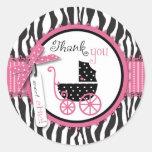 Zebra Print & Baby Carriage Thank You Round Stickers