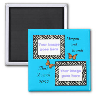 Zebra Print Best Friends Photo Magnet