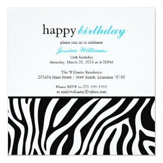 Zebra Print Birthday 13 Cm X 13 Cm Square Invitation Card