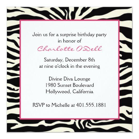 Zebra Print Birthday Card