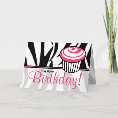 Zebra Print Birthday Card with Pink Cupcake by thepinks