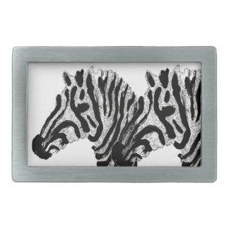 Zebra Print Black and White Stripes Belt Buckle