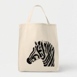 Zebra Print Black and White Stripes Grocery Tote Bag