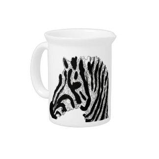 Zebra Print Black and White Stripes Pitcher