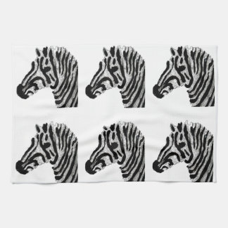 Zebra Print Black and White Stripes Tea Towel