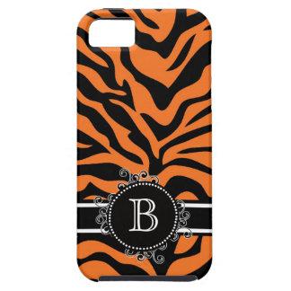 Zebra Print Black Orange Swirly Monogram Tough iPhone 5 Case