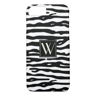 Zebra Print Black White Stripes Chic Monogrammed iPhone 8/7 Case