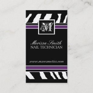 Black purple zebra business cards zazzle uk zebra print business card reheart Images