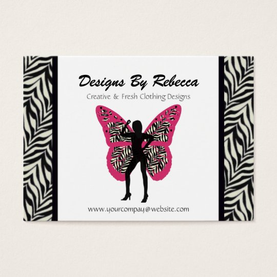 Zebra Print Butterfly Business Card