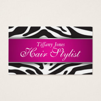 Zebra Print Cosmetology Business Card