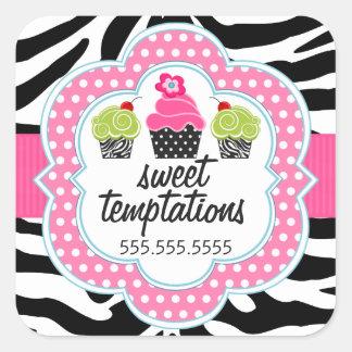 Zebra Print Cupcake Bakery Business Square Sticker