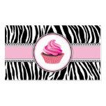 Zebra Print Cupcake Bakery Pink Elegant Lace Business Card Templates