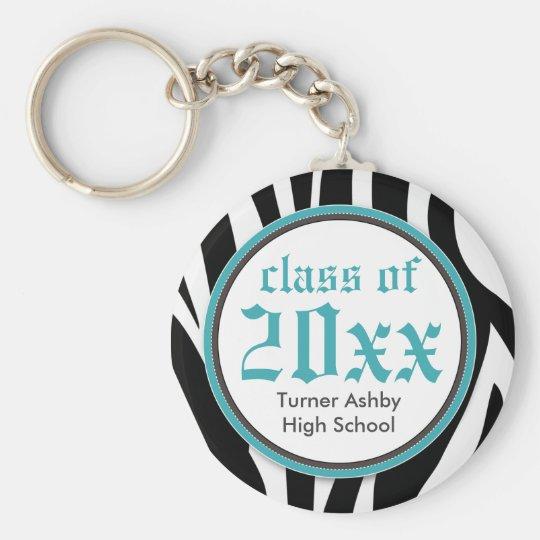 Zebra Print Customised Graduation Keychain aqua