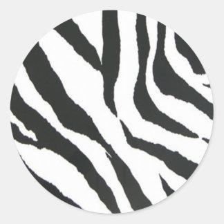 zebra print design round sticker