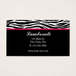 Zebra Print Fashion Designer Hair Stylist Salon Business Card