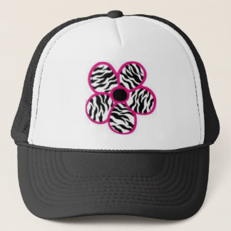 Zebra Print Flower Trucker Hat