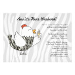 Zebra Print Funny Hen - Hens Party Bachelorette Personalized Announcement