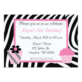 Zebra Print Girls Birthday Inviation Card