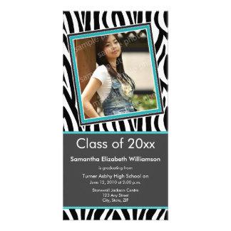 Zebra Print Graduation Photo Announcement (aqua) Customized Photo Card