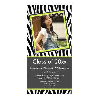 Zebra Print Graduation Photo Announcement (lime) Photo Card