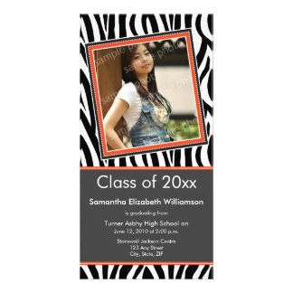 Zebra Print Graduation Photo Announcement (orange) Card