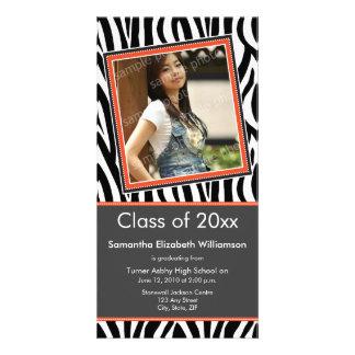 Zebra Print Graduation Photo Announcement (orange) Custom Photo Card
