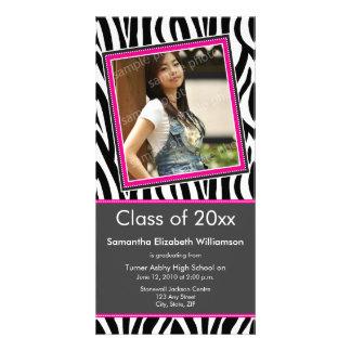 Zebra Print Graduation Photo Announcement (pink) Customised Photo Card
