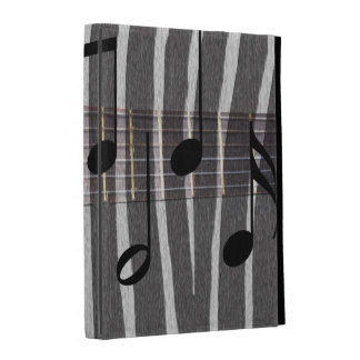 Zebra Print Guitar with Notes iPad Folio Cases
