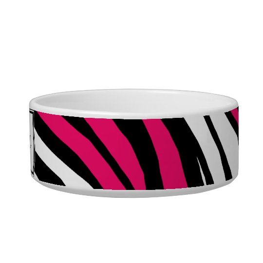 Zebra Print Hot Fuchsia Mix Personalised Cat Bowl
