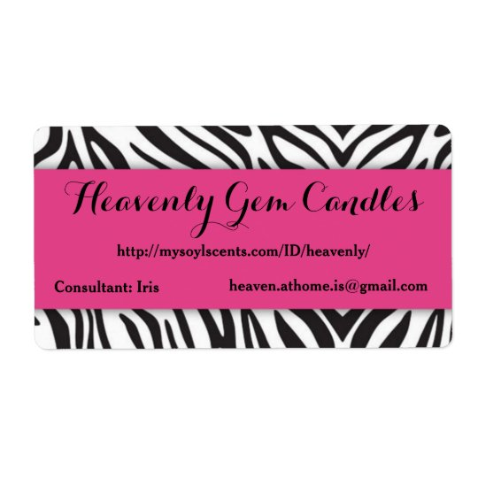 Zebra Print & Hot Pink Business Label