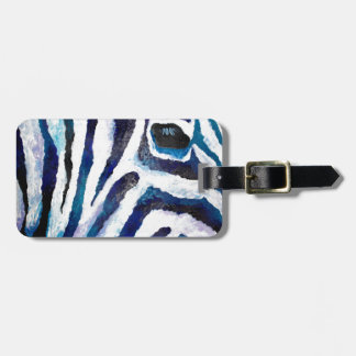 Zebra Print in Purple and Teal (K.Turnbull Art) Luggage Tag