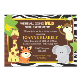 Zebra Print Jungle Safari Baby Shower Invitation