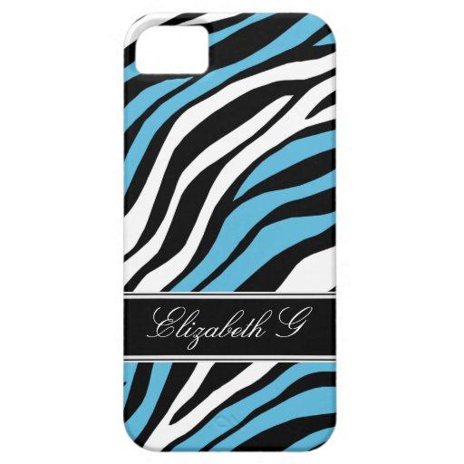 Zebra Print Mix Blue iPhone 5 Case