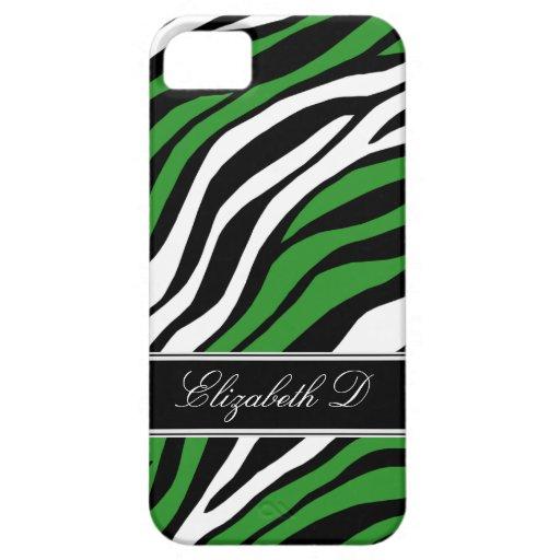 Zebra Print Mix Green iPhone 5 Case