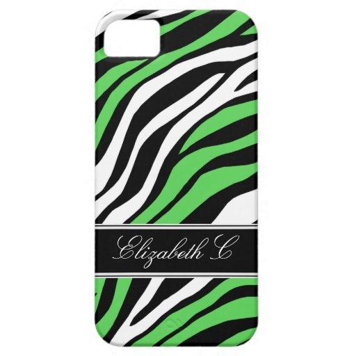 Zebra Print Mix Lime Green iPhone 5 Case