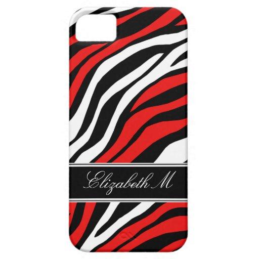 Zebra Print Mix Red iPhone 5 Case