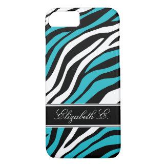 Zebra Print Mix Turquoise iPhone 7 Case