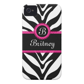 Zebra Print Monogram Name iPhone 4 Case-Mate Case