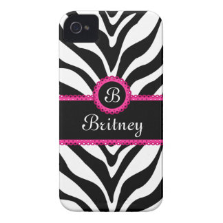 Zebra Print Monogram Name iPhone 4 Cover