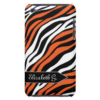 Zebra Print Orange Mix iPod Touch 4G Case Barely There iPod Covers