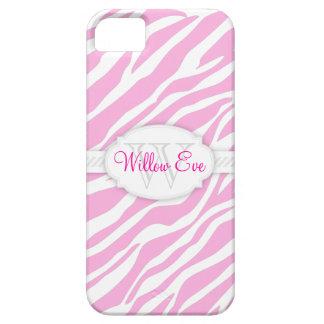 Zebra Print (Pale Pink) Custom Monogram Case iPhone 5 Cases